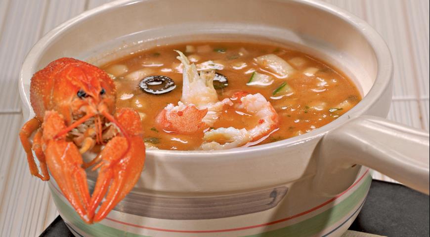 Томатный суп с раковыми шейками